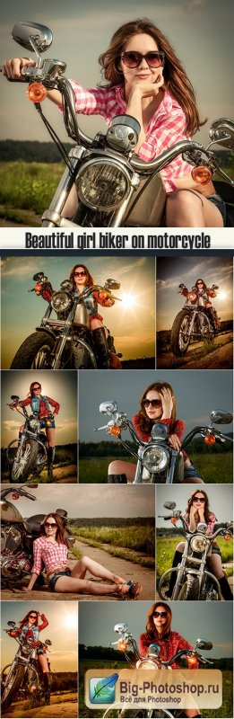 Beautiful girl biker on motorcycle