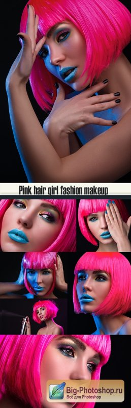 Pink hair girl fashion makeup