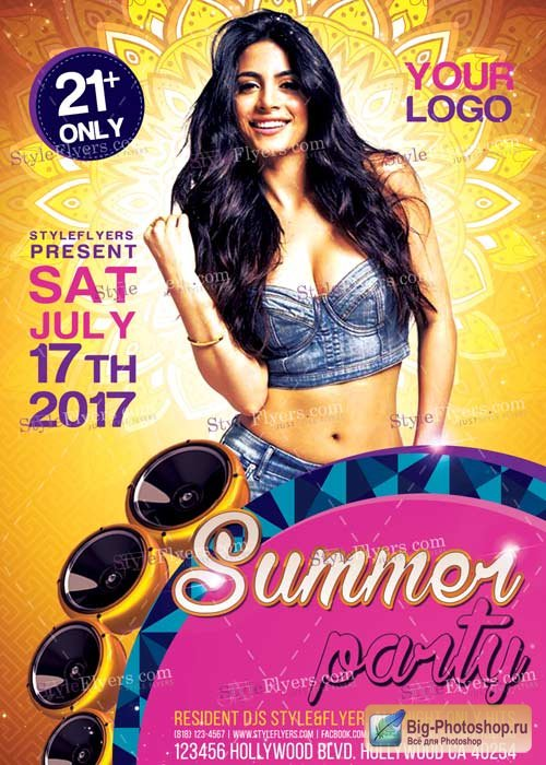 Summer Party V9 PSD Flyer Template