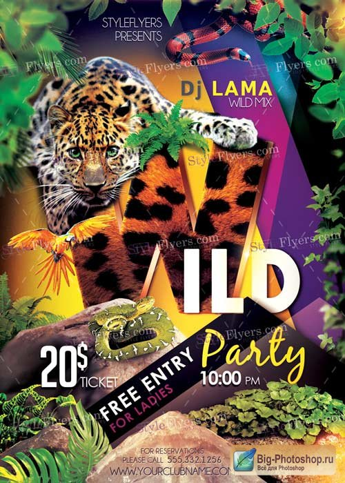 Wild Party V3 PSD Flyer Template