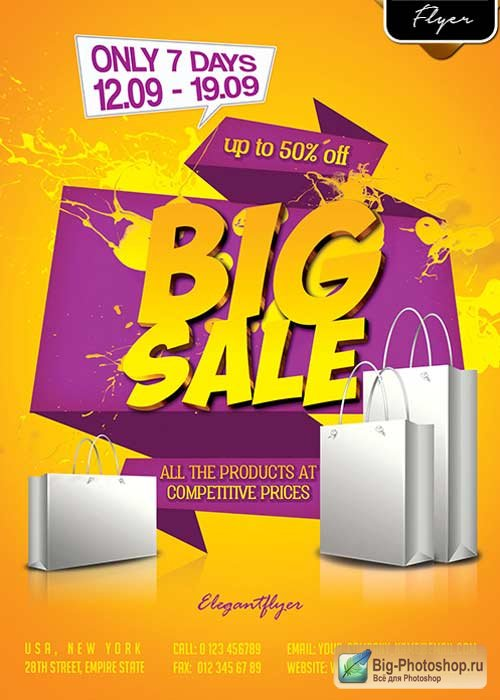 Big Sale Offer V3 Flyer PSD Template + Facebook Cover