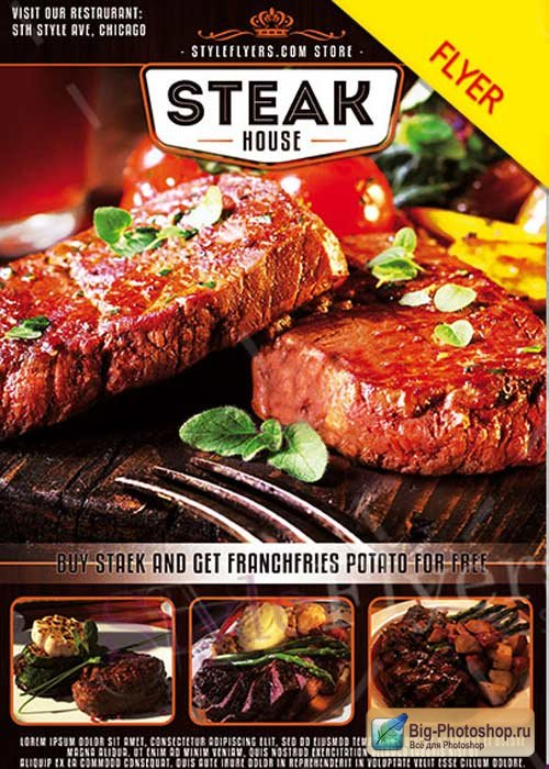 Steak House V6 PSD Flyer Template
