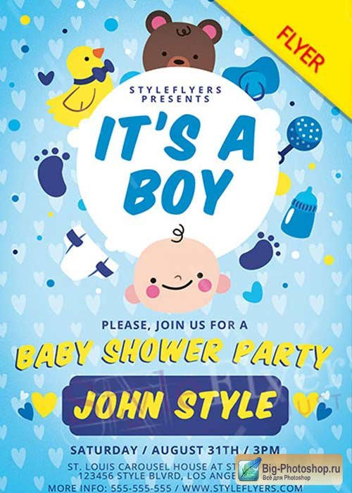 Baby Shower V1 PSD Flyer Template