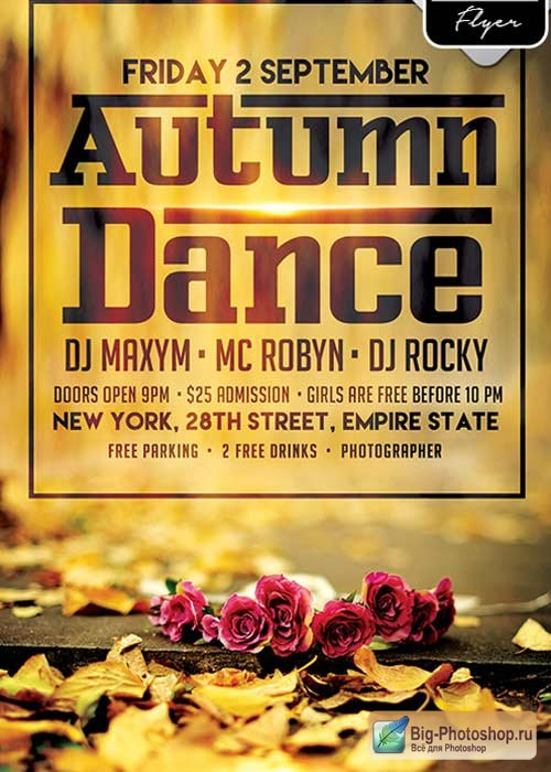 Autumn Dance V9 Flyer PSD Template + Facebook Cover