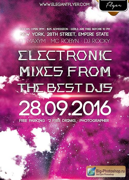 Electronic Mixes V1  Flyer PSD Template + Facebook Cover