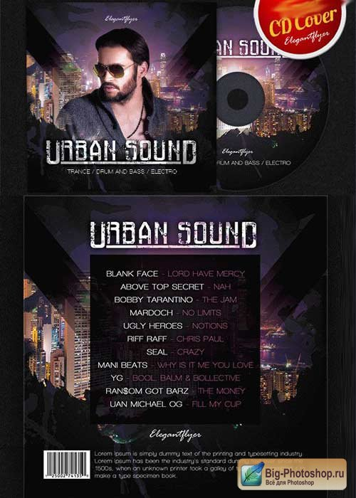 Urban Sound CD Cover PSD V3 Template