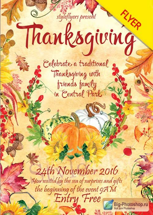 Thanksgiving V8 PSD Flyer Template