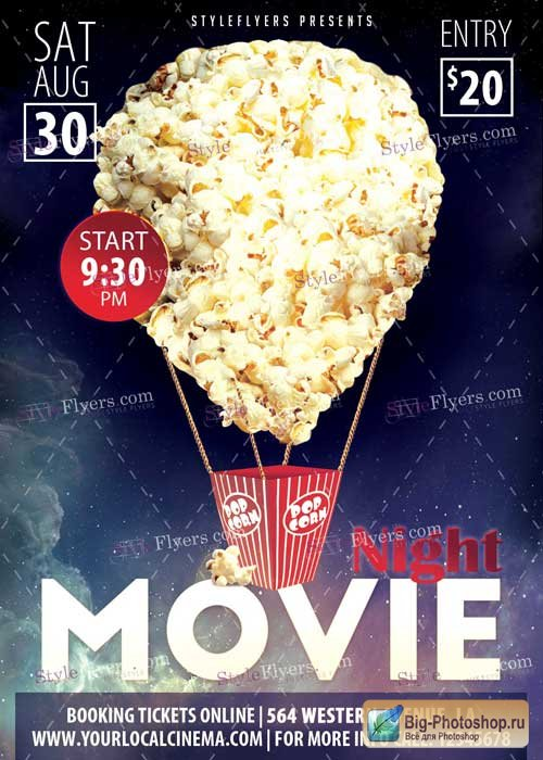 Movie Night PSD V3 Flyer Template