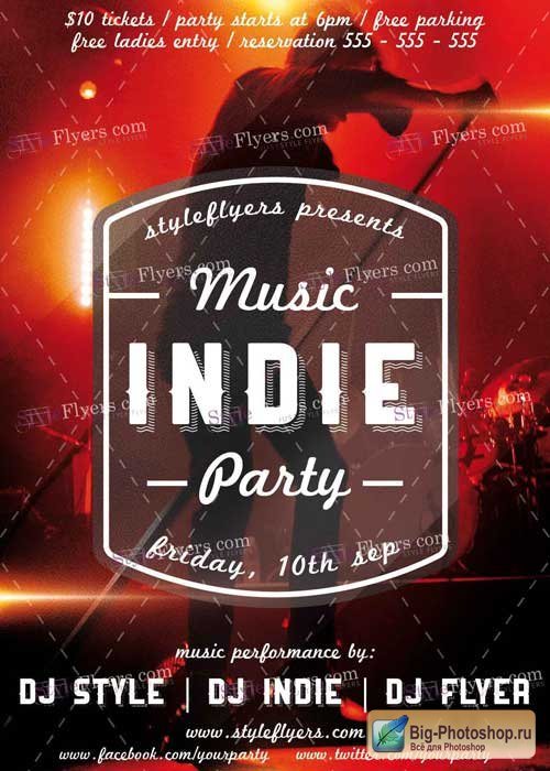 Indie Music Party PSD V3 Flyer Template