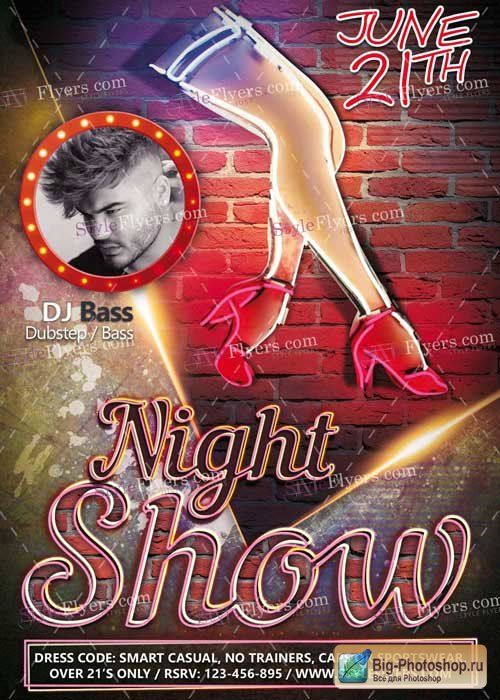 Night Show PSD V3 Flyer Template