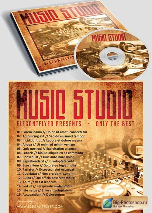 Music Studio CD Cover PSD Template