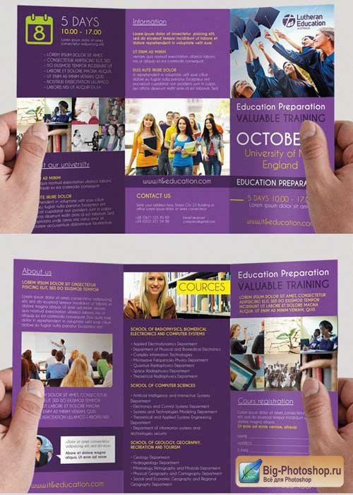 Education V2 Premium Tri-Fold PSD Brochure Template