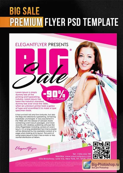 Big Sale Flyer PSD Template + Facebook Cover