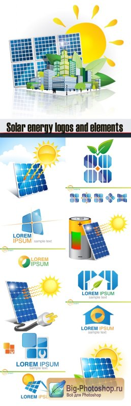 Solar energy logos and elements design