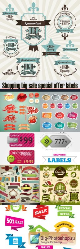 Shopping big sale special offer labels