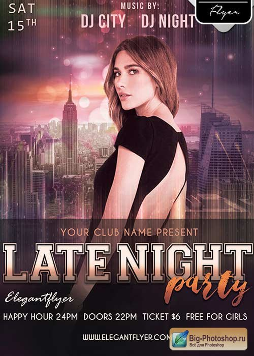 Late Night Party Flyer PSD V8 Template + Facebook Cover