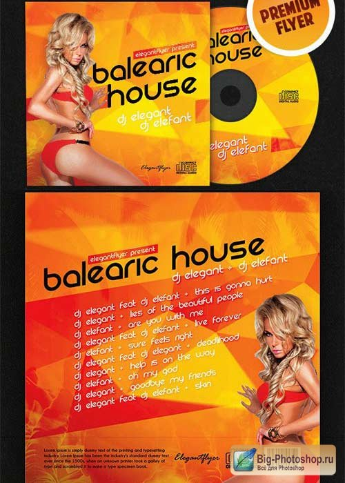 Balearic House CD Cover PSD Template