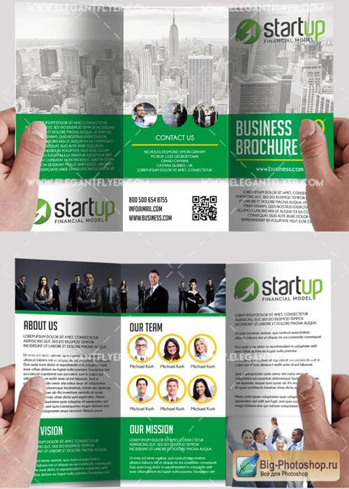 The Business PSD V15 Tri-Fold PSD Brochure Template