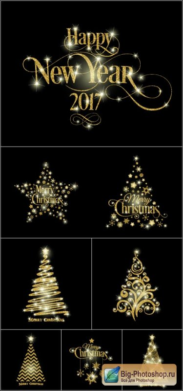 Gold flickering fur trees and stars Happy new year 2017 (Vector)