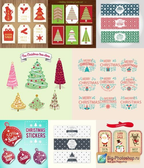 Inscriptions Merry Christmas of a fur tree stickers and labels with Santa claus backgrounds (Vector)