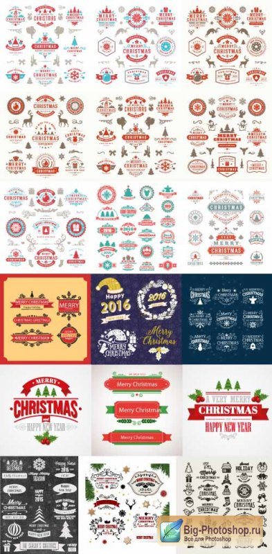 Set of New Year Labels of stickers of patterns Merry Christmas (Vector)