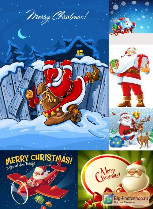 Santa clauses by the plane with gifts a winter night landscape (Vector)
