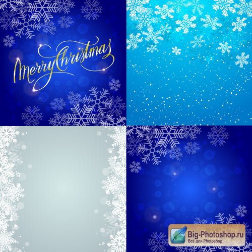 Light blue New Year cards and backgrounds with snowflakes (Vector)