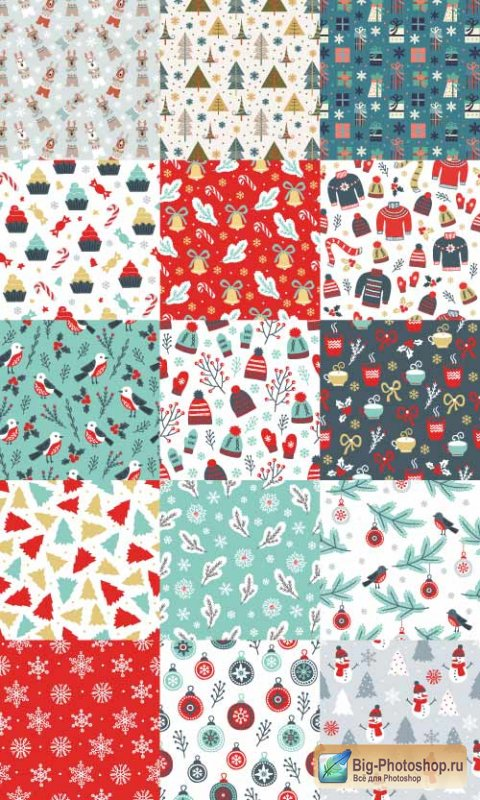 15 New Year patterns with trees snowflakes and a snowman (Vector)