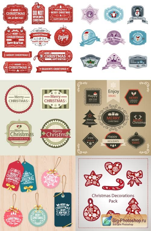 Labels stickers Merry Christmas from fur trees and snowflakes with a pattern (Vector)
