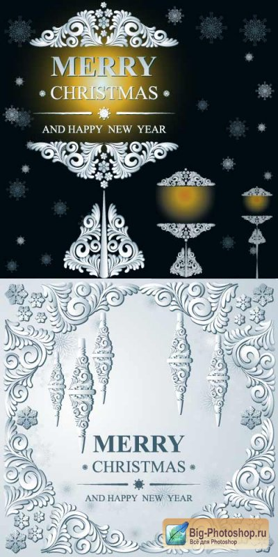 New Year winter ice ornaments of an icicle with a pattern (Vector)