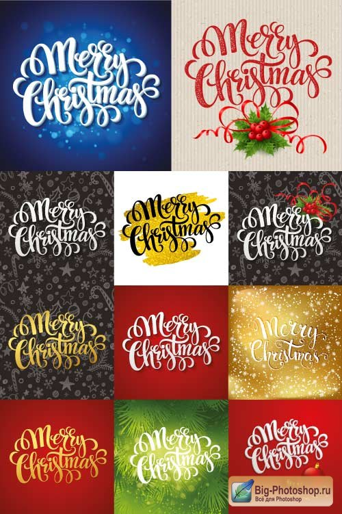 Black gold and green backgrounds with inscriptions Merry Christmas (Vector)