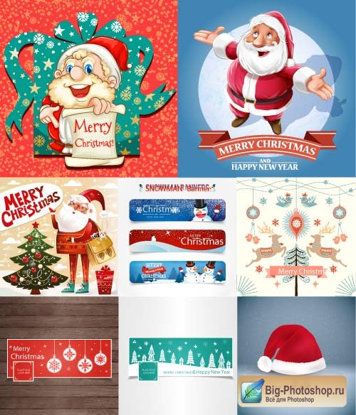 Santa clauses a background with a cap banners with a snowman and deer (Vector)