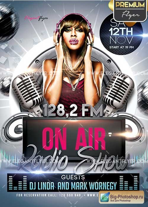 Radio Show Flyer PSD V5 Template + Facebook Cover