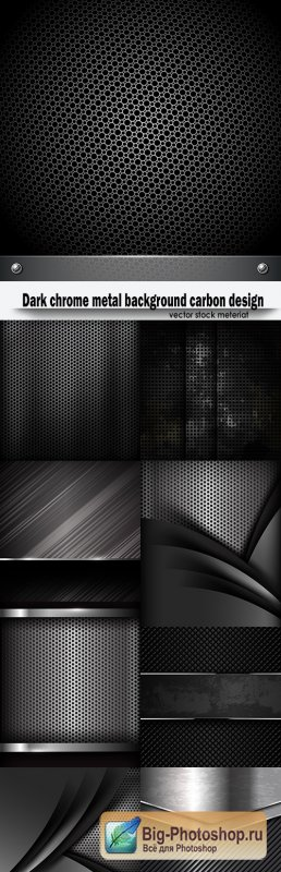 Dark chrome metal background carbon design