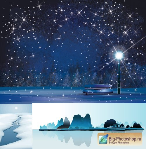 Night winter landscape a bench with a lantern and the ice river (Vector)