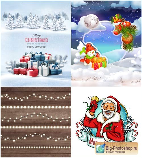 Gifts on snow a snowman with fir cones a garland and the Santa (Vector)