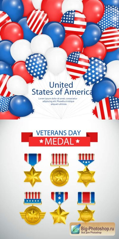 USA balls flag and veterans day medal vector
