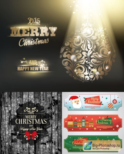 Wooden cover and banners with the Santa Claus (Vector)