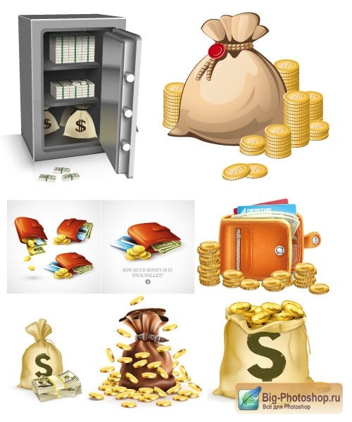 Bag the safe a purse and a wallet with dollars coins (Vector)