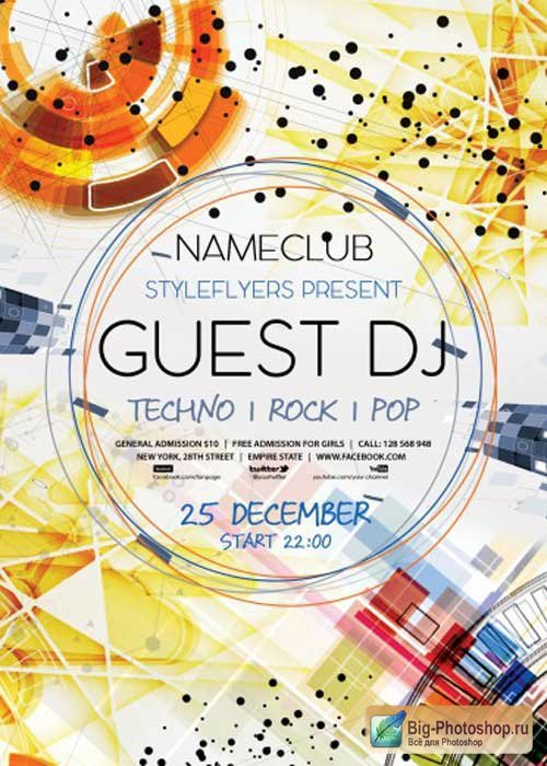 Guest DJ PSD Flyer V3 Template with Facebook Cover