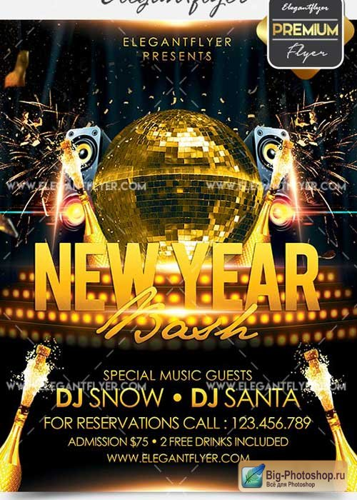 New Year Bash Flyer PSD V4 Template + Facebook Cover