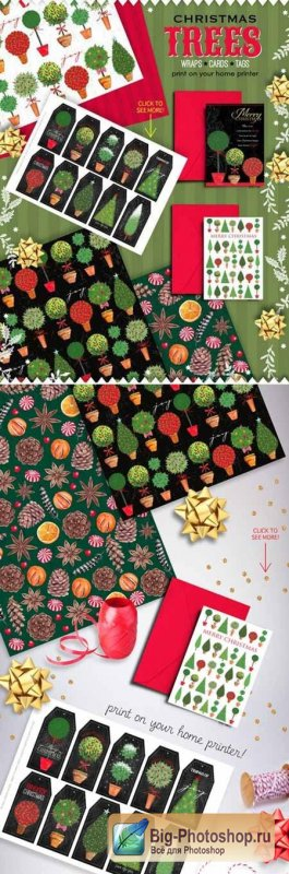Christmas Trees wraps cards tags