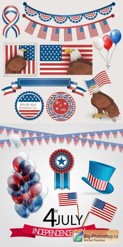 American independence day flags balls USA vector