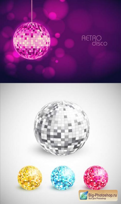Colour a disco a sphere in style of a retro (Vector)