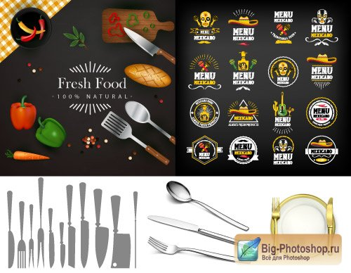 The restaurant menu a gold spoon with a sticker and a silhouette a knife an axe (Vector)