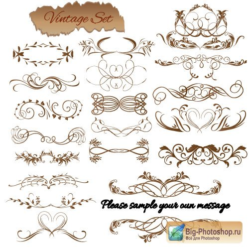Elegant patterns and ornaments moustached decorative elements (Vector)