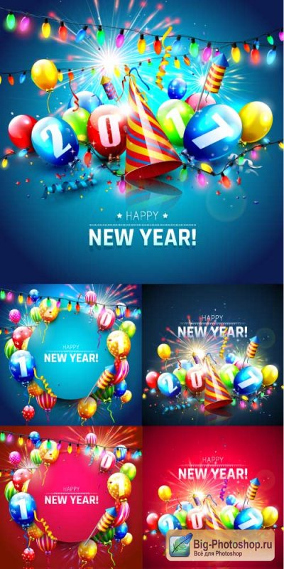 New Year background with petards and balloons and garlands (Vector)