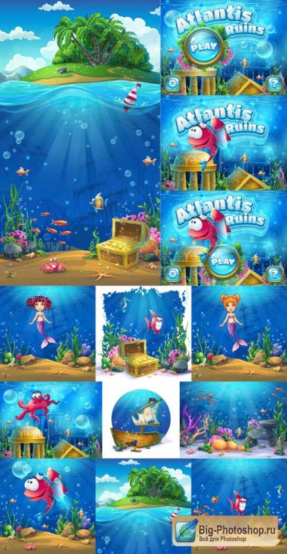 Animation pictures the underwater world of the seas with mermaids (Vector)