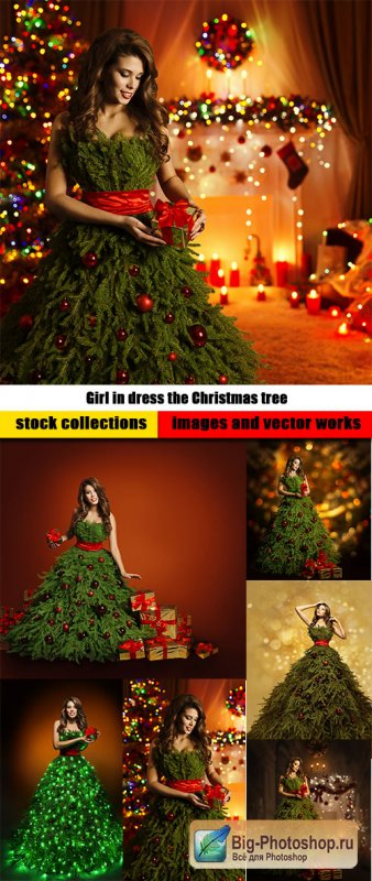 Girl in dress the Christmas tree