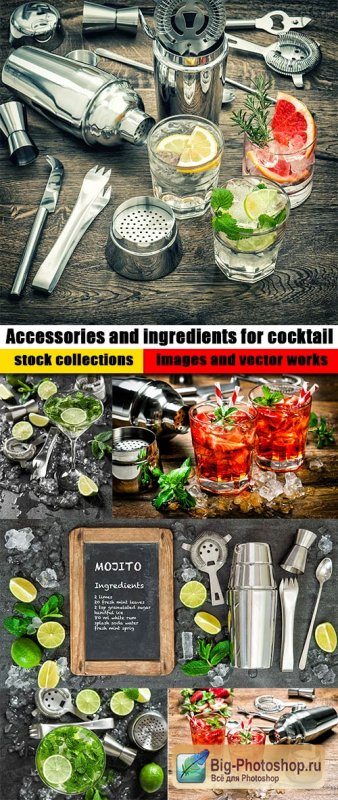 Accessories and ingredients for cocktail